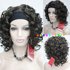 Ladies wig Dark Brown short Curly Spiral Curls Women Lady 3/4 half wig headband
