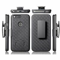 For Google Pixel XL - BLACK HARD SHELL COVER COMBO CASE BELT HOLSTER KICKSTAND