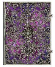 "Paperblanks Journal Silver Filigree ""Aubergine"" LINED Ultra 7x9 Book Purple"