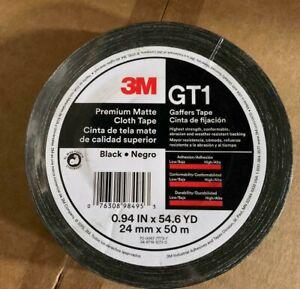 """(1 ROLL) 3M Gaffers Black Tape 1"""" x 54.6 YD GT1 Premium Matte Cloth - NEW"""