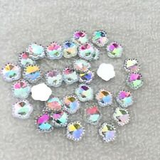 40pcs white AB resin floral flat back rhinestone wedding decoration buttons-Z050