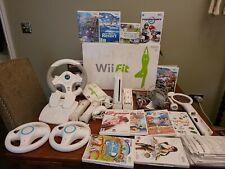 NINTENDO WII Console & Wii Sports & Resort & mario kart & Wii Fit & game bundle