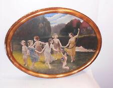 Handkolorierter Druck Oval Kinder Reigen um 1900 Rahmen Deko Shabby Vintage