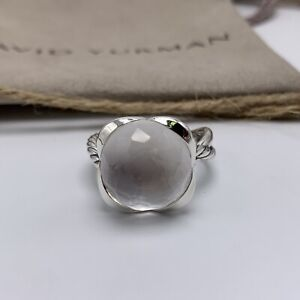 David Yurman Sterling Silver Continuance Ring With 14mm Moonstone Sz 7
