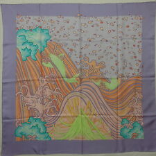 """Auth HERMES """"A Contre Courant"""" by Isabelle Barthel Purple Silk Scarf 5308"""
