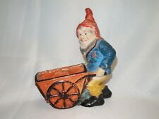 Vtg Gnome Wheelbarrow planter occupied japan