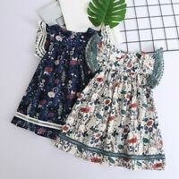Toddler Kids Baby Girls Clothes Cute Lace Floral Printing Party Princess Dresses