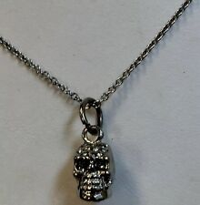 Skull Pendant Necklace Set G 00001478 othic Inspired Silver Tone Crystal