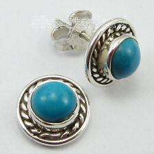 Lovely Stud Earrings 1 Cm New Original Round Turquoise Gemstone, 925 Pure Silver