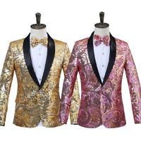 Men's Slim Jacket Glitter Sequins Blazer Suit Gold And Black Luxury Suit US 60