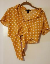 Forever 21 Yellow Polka Dot Button Up Tie Front Cropped Top Women's Size Small
