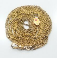 Long Pocket Watch Chain Slide Antique Victorian Yellow Gold Filled