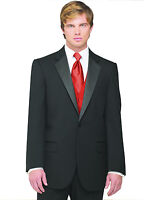 Sizes 34-64 Regular. 6-Piece Complete Tuxedo Package with Scarlet Vest & Tie