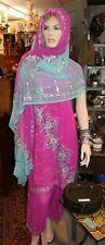 Vintage India Kameez Salwar Sari Saree Palazzo Pants 3 Piece Set Pink & Blue