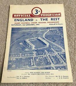 1954 Programme England v The Rest, Twickenham Rugby Union match