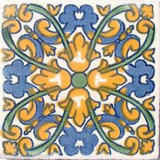 C#033) MEXICAN TILES CERAMIC HAND MADE SPANISH INFLUENCE TALAVERA MOSAIC ART