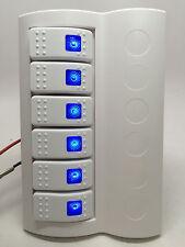 MARINE BOAT WATERPROOF WHITE SWITCH PANEL CIRCUIT BREAKER 6 GANG BLUE LED ROCKER