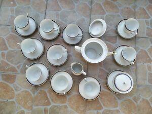 Servizio da tè, 10 tazzine, 11 piattini, lattiera, zuccheriera, teiera,...