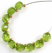 10 GENUINE GREEN PERIDOT FACETED ONION BRIOLETTE BEADS  5 mm  P7