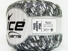 Silver-White w/ Silver Mini Ladder Glitz Ribbon Yarn #58090 Ice Metallic Accent