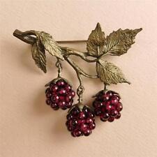 Michael Michaud Silver Seasons Garnet Raspberry Brooch Pin Handmade in USA