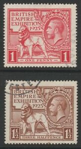 GB GV 1925 British Empire Exhibition BEE set cds used sg432-433