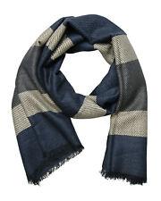 Herren Schal blau beige grau sportlich Herrenschal Tuch Winter Herbst Wolle