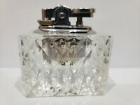 Vintage Working Table Lighter Crystal Glass / Silver Tone