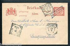 Ned.Indie, haltestempel TJIGOMBONG op briefkaart 1904 van Samarang
