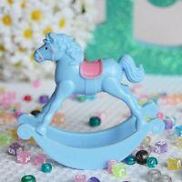 """Set of 2  Light Blue Rocking Horse 3.5""""Favor Baby Shower Table Decoration"""