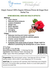 Simply Natural 100% Organic Hibiscus Flower Ginger Root Herbal Tea 30 Tea Bags