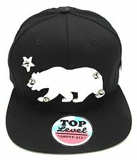 CALIFORNIA REPUBLIC Snapback Cap Hat Studded Spikes White Acrylic Bear CALI NWT