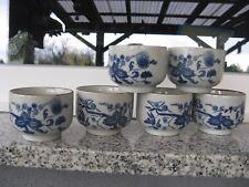 6 PETITS BOLS Porcelaine ASIATIQUE décor JAPONISANT BLEU  6,2 CM HAUT