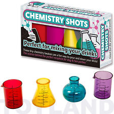 CHEMISTRY SHOTS Set of 4 SHOT GLASSES & PIPETTES Mini Beakers Hen Stag Do Party