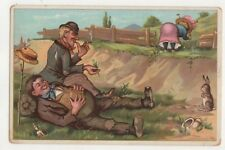Tramps Watching Lady Bend Over Vintage Comic Postcard 748b