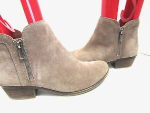 Lucky Brand Breah Tan Suede Leather Ankle Boots Bootie Zip 8.5 EXC Block Heel