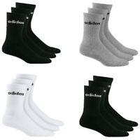 Adidas Mens Womens 3 Pairs Crew Socks HC Half Cushioned Sports Gym Black Size