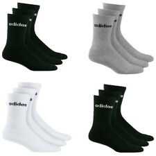 Adidas Mens Womens 3 Pairs Crew Socks HC Half Cushioned Sports Gym Black Size