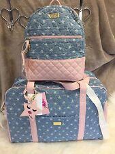 NEW! BETSEY JOHNSON Denim Pink  MOON DUST Star WEEKENDER & BACKPACK Luggage SET