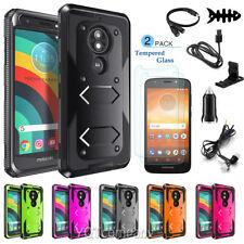 For Motorola Moto E5 Play / Cruise Hard Rubber Phone Case+Glass Screen Protector
