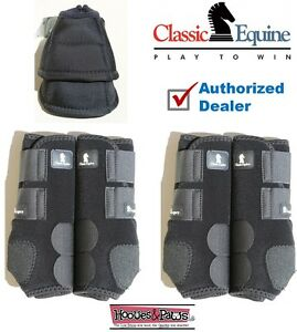 LARGE Black CLASSIC EQUINE Front Rear Legacy Horse Sports Leg No Turn Bell Boots