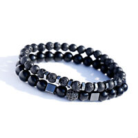 2Pcs Natural Rock Lava Stone Zircon Balls Hematite Charm Bracelets For Men Women
