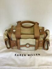 KAREN MILLEN TAN LEATHER ,BEIGE & CREAM SUEDE HANDBAG