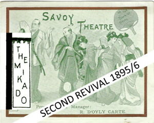 1896 Mikado Savoy Theatre card programme D'Oyly Carte Gilbert & Sullivan opera