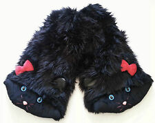 J Valentine Faux Fur Black Cat Leg Warmers One Size Rave Party Costume Fluffies