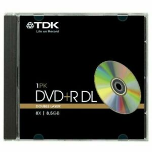 1 Genuine TDK DVD+R DL Dual Double Layer 8.5GB Disc 8x 240 mins T19544 CMC D03