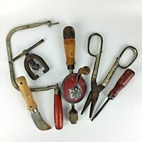 Lot 7 Tools Screwdriver Saw Imperial Brass Flaring Red Wood Handle Vtg Man Gift