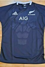 All Blacks New Zealand Adidas Rugby Shirt Jersey Black White Trim M L New