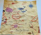 SANDERSON / ZOFFANY Fabric Remnant - GALAPAGOS  MAP - Spice -17 1/2x17 $82