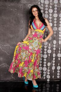 Women's Colorful Maxi Dress Floral Summer Dress Beach Dress Size 8,10,12,14